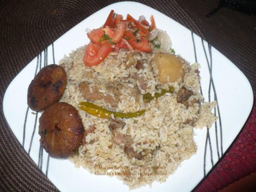 Mutton Biriyani and Shami Kabab