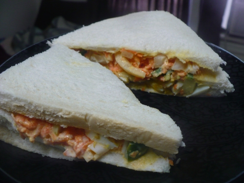 Club Sandwich, egg and cold crab salad layers