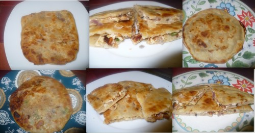 Keema Paratha , Square and round shapes in three diff ways !!!!!!!